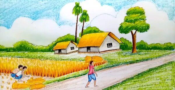 vẽ tranh đề tài quê hương