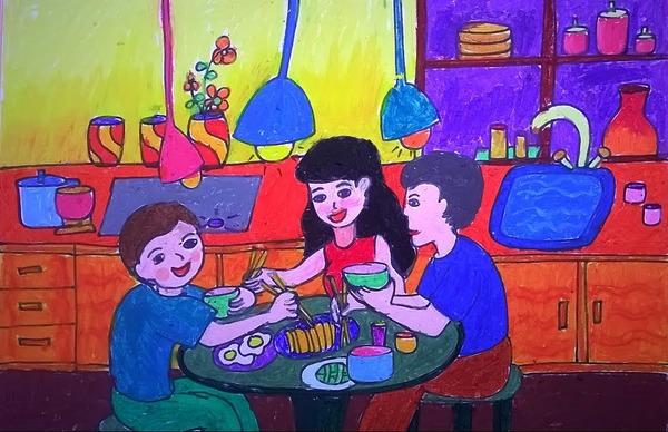 vẽ tranh đề tài gia đình đơn giản nhất